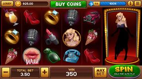 Main screen for pin-up slots game. With retro symbols. Vector illustration royalty free illustration