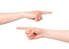 Main se dirigeant avec l'index Image libre de droits
