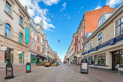 The main shopping street in the city center of Karlskrona, Swede Stock Photos