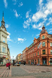The main shopping street in the city center of Karlskrona, Swede Stock Images