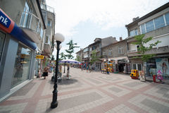 The main shopping street in Pomorie, Bulgaria Stock Images