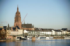 Main Shore with Frankfurt Cathedral Royalty Free Stock Image