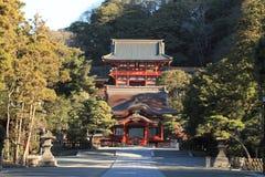 Main shrine and dance hall of Tsurugaoka Hachimangu shrine Stock Photos