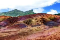 Main sight of Mauritius.Chamarel. seven color lands. Royalty Free Stock Images