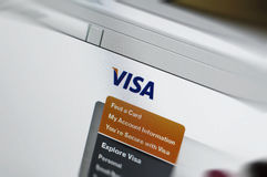 Main site of Visa.com computer display. Visa Inc. (NYSE: V) is a global payments technology company headquartered in San Francisco, California. It facilitates Royalty Free Stock Photos