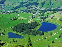 The main and the smaller lake Schwendisee or Hinterer und Vorderer Schwendisee. Canton of St. Gallen, Switzerland stock image
