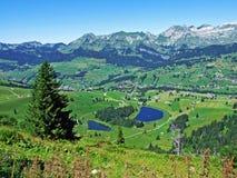 The main and the smaller lake Schwendisee or Hinterer und Vorderer Schwendisee. Canton of St. Gallen, Switzerland stock photography