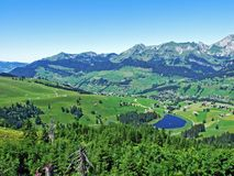 The main and the smaller lake Schwendisee or Hinterer und Vorderer Schwendisee. Canton of St. Gallen, Switzerland stock images