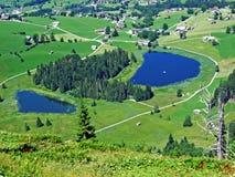 The main and the smaller lake Schwendisee or Hinterer und Vorderer Schwendisee. Canton of St. Gallen, Switzerland stock photo