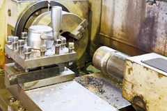 Main spindle of metal lathe machine Royalty Free Stock Photo
