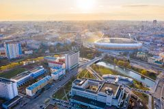 Main sport arena Dinamo surrounded by river Svisloch and buildings. Central stadium in Minsk stock photo
