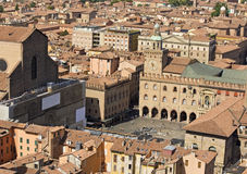 Main square aerial view for asinelli tower Royalty Free Stock Photo