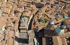 Main square aerial view for asinelli tower Royalty Free Stock Images
