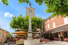 Main Square of Aiguines in Provence, France Royalty Free Stock Photos