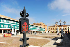 Main Square of Almagro, Castilla la Mancha, Spain. Coat of arms of the Order of Calatrava located in the Plaza Mayor of Almagro, famous town of the province of Royalty Free Stock Image