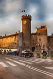 Main Square Of Bagnaia At Dusk Viterbo Italy Stock Photography