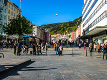 Main square in Bergen, Norway Stock Image