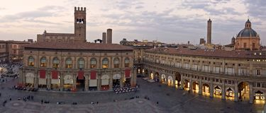 Main square - bologna. A panoramic view of main square - bologna, italy royalty free stock photos