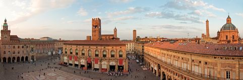 Main square - bologna. A panoramic view of main square - bologna, italy royalty free stock image