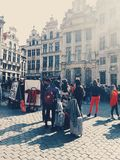 Main square in Brussels, Belgium. Young people crowd in main square in Brussels old town, Belgium. Photo taken with mobile phone Royalty Free Stock Image