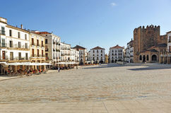 Main Square and the Bujaco tower, Caceres, Extremadura, Spain Royalty Free Stock Photo