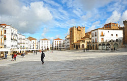 Main Square, Caceres, Extremadura, Spain. Main Square named Plaza Mayor and Bujaco tower in Caceres medieval city, Extremadura, Spain. 18_01_2014 Royalty Free Stock Image