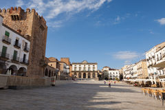 Main square of Caceres, Spain Stock Images