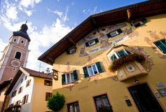 Main square of Castelrotto, Italy  Stock Photos
