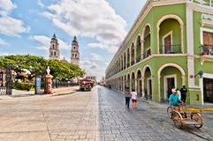 Main square with Cathedral in Campeche, Mexico Royalty Free Stock Images