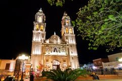 Main square and Cathedral in Campeche, Mexico royalty free stock image