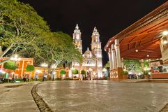 Main square and Cathedral in Campeche, Mexico Stock Photography