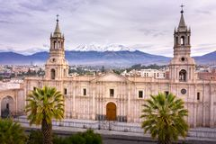 MAIN SQUARE AND CATHEDRAL CHURCH IN PERU stock photos