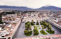 MAIN SQUARE AND CATHEDRAL CHURCH IN PERU royalty free stock photography