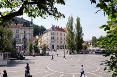 The main square in central part of Ljubljana Royalty Free Stock Image