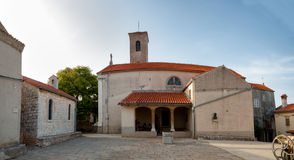 Main square and church at Beli in Cres island Stock Photography