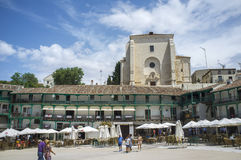 Main square and church, Chinchon, Spain Stock Images