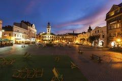 Main Square of Cieszyn. At evening. Cieszyn, Slaskie, Poland royalty free stock image