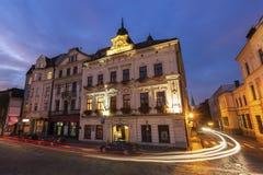 Main Square of Cieszyn. At evening. Cieszyn, Slaskie, Poland royalty free stock images