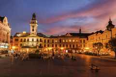 Main Square of Cieszyn. At evening. Cieszyn, Slaskie, Poland stock image
