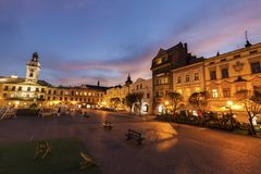 Main Square of Cieszyn. At evening. Cieszyn, Slaskie, Poland royalty free stock photo