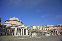 Main square of the City of Napoli, Naples, Italy. The Church of San Francesco di Paolo in the Piazza del Plebiscito which is the main square of the City of royalty free stock images
