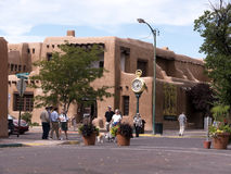 Main square in the City of Santa Fe In New Mexico. The Creative City of Santa Fe In New Mexico with its multitude of Galleries and Sculpture stock image