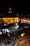 The main square of Cluj crowded during a live rock opera Stock Image