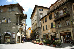 Main square in Cortona (Italy) Stock Photography