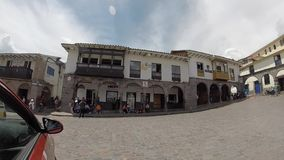 Main Square of Cusco with tourists and Iglesia de la Compania, Cusco stock video