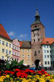 Main square flowers. Landsberg main square with flowers Stock Photos