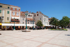 Main square with fountain in Mali Losinj,Croatia Royalty Free Stock Image