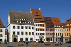 Main square in Freiberg, Germany. Historic houses on main square in Freiberg, Saxony,Germany Royalty Free Stock Photos