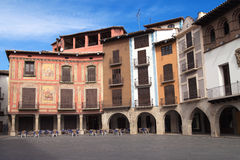 Main square of Graus. Plaza Mayor, main square of Graus, Aragon, Spain Stock Photos