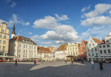 Main square of historic tallinn old town in estonia Stock Images